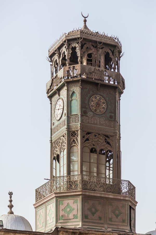 Mosquée Clocktower le Caire Egypte d'albâtre photographie stock libre de droits