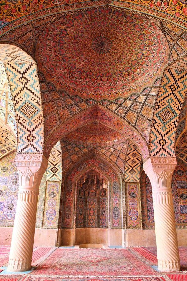 Mosquée d'Al-Mulk de Nasir, Chiraz, Iran images libres de droits
