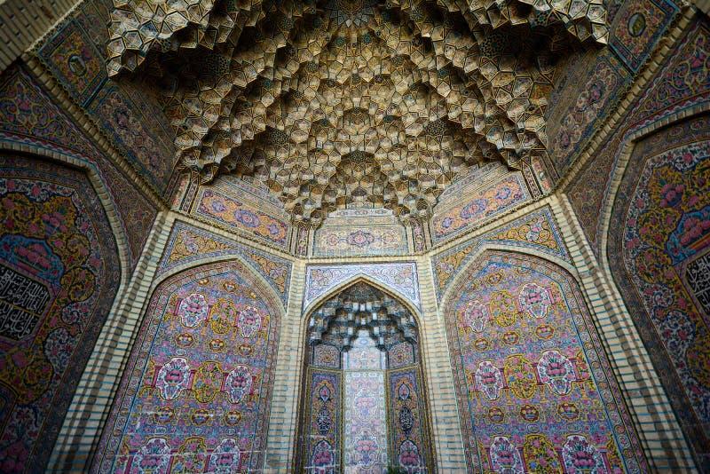 Mosquée d'UL-Molk de Nasir, province de Fars, Chiraz images libres de droits