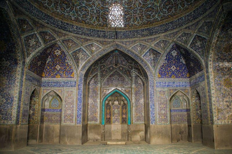 Mosquée dans le bleu d'Isphahan Ornements et décorations traditionnels l'iran photo stock