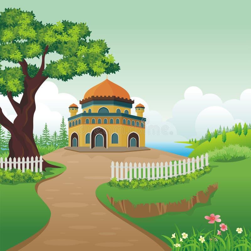 Mosquée de bande dessinée sur la colline illustration de vecteur