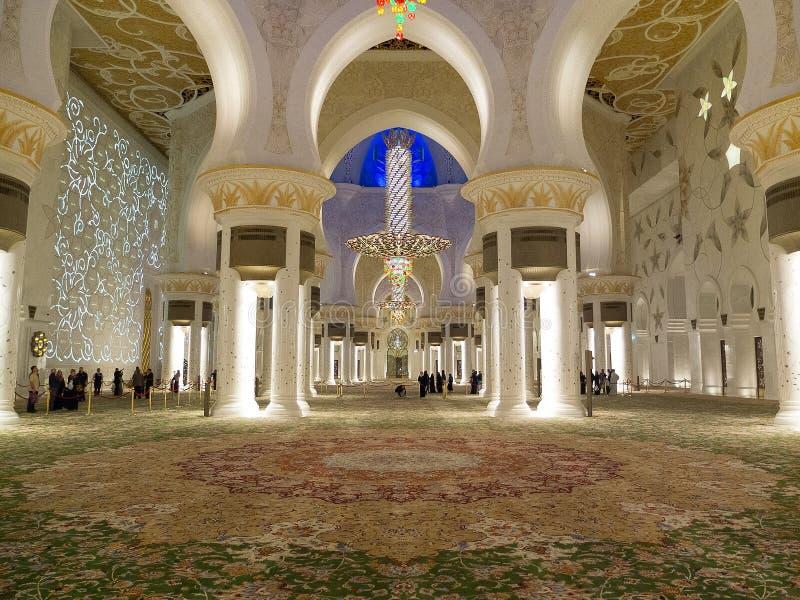 Mosquée de cheik Zayed en Abu Dhabi à l'intérieur images libres de droits
