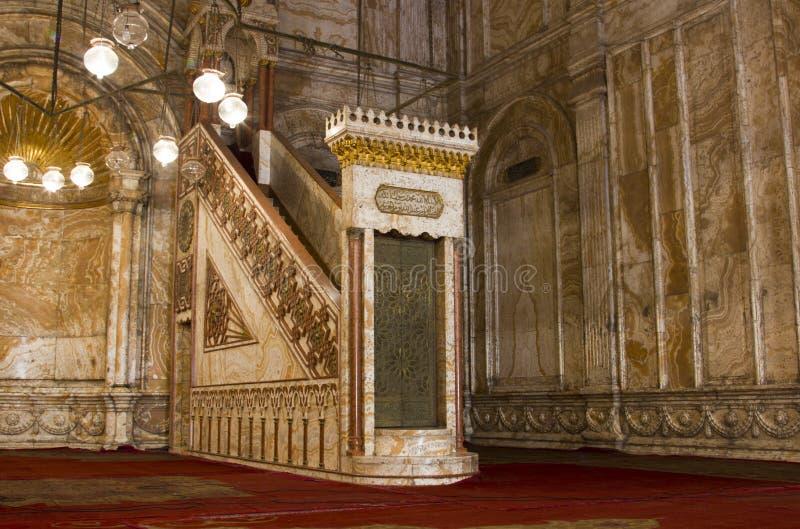 Mosquée de Mohammed Ali minbar image stock