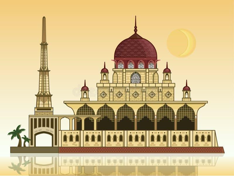 Mosquée de Putra avec la lune images libres de droits