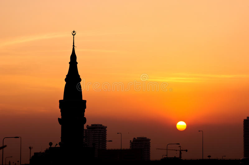Mosquée de silhouette photographie stock