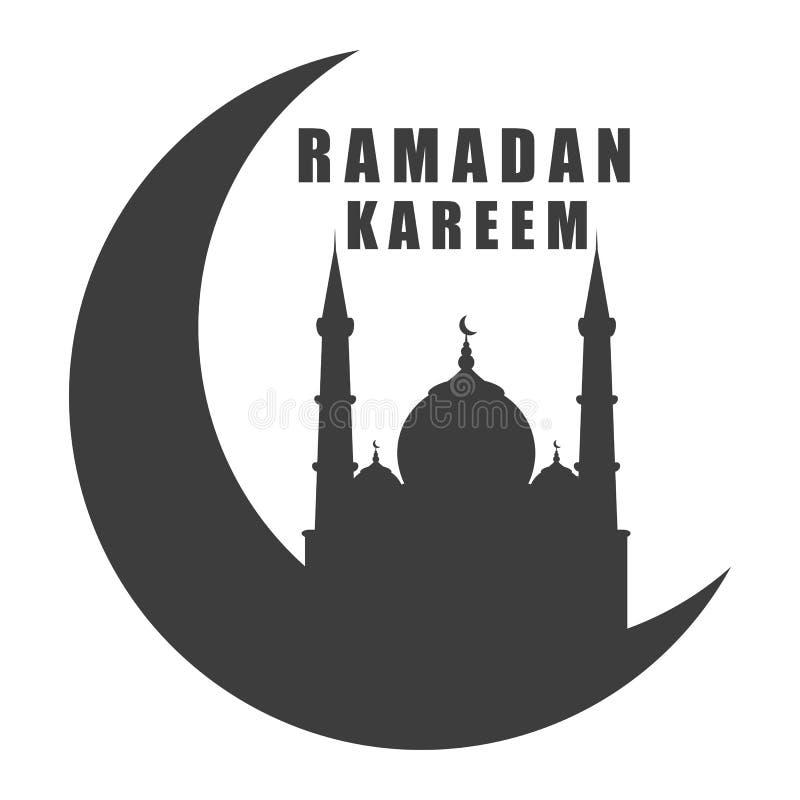 Mosquée de silhouette d'icône de noir de kareem de Ramadan sur le croissant de lune d'isolement image libre de droits