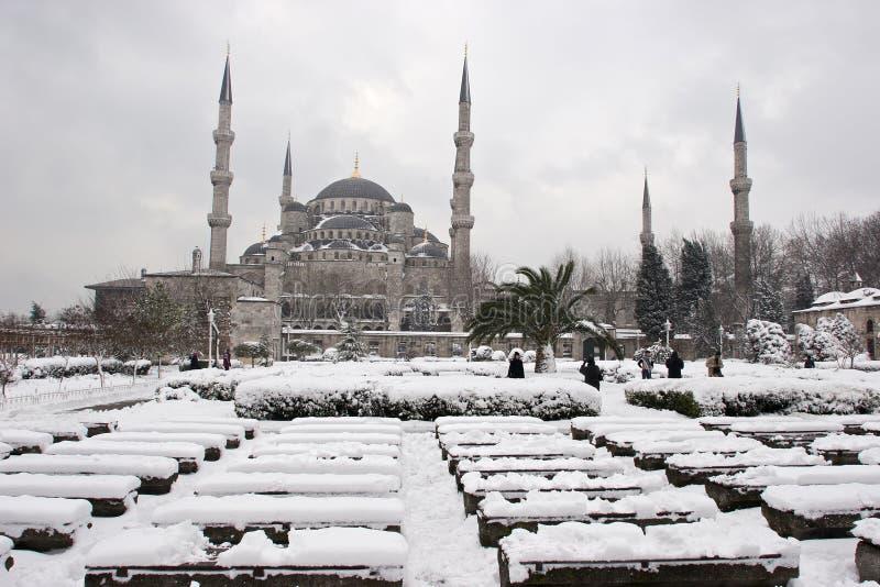 Mosquée de Sultanahmet l'hiver bleu de mosquée photos stock