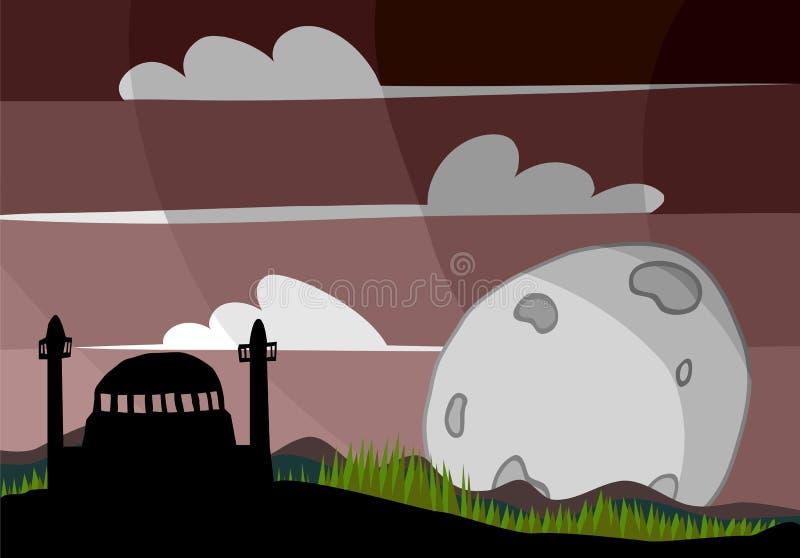 Mosquée et pleine lune illustration de vecteur