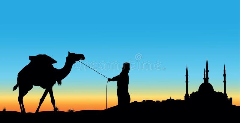 Mosquée et un conducteur de bestiaux avec un chameau illustration de vecteur