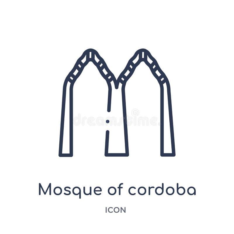 Mosquée linéaire d'icône de Cordoue de collection d'ensemble de bâtiments Ligne mince mosquée d'icône de Cordoue d'isolement sur  illustration de vecteur