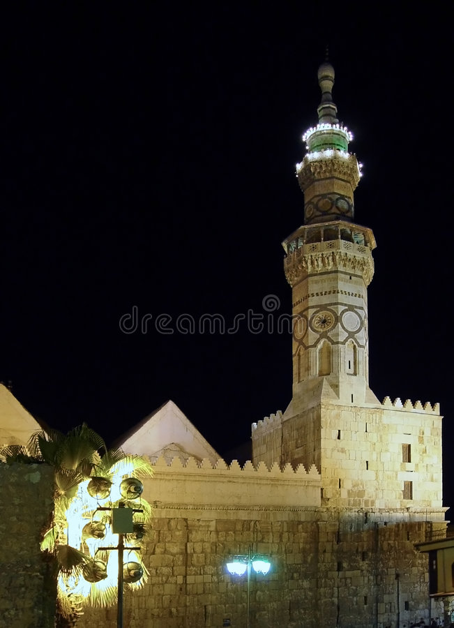 Mosquée par nuit. Damas, Syrie image stock