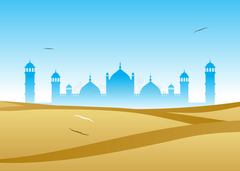 Mosque. A mosque against the blue sky and a dune in the desert stock illustration