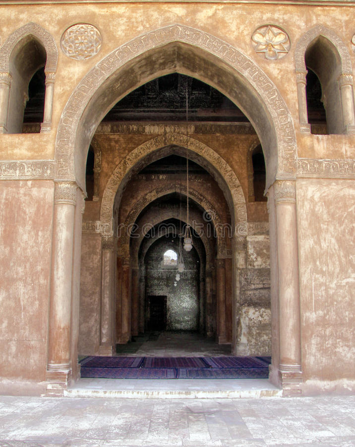Mosque of Ahmed Ibn Tulun. Elqebla side of Ahmed ibn Tulun mosque the mosque is almost 1200 years old stock photo