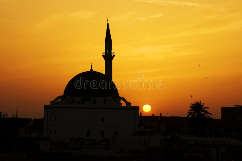 Mosque of Al-Jazzar at sunset royalty free stock images