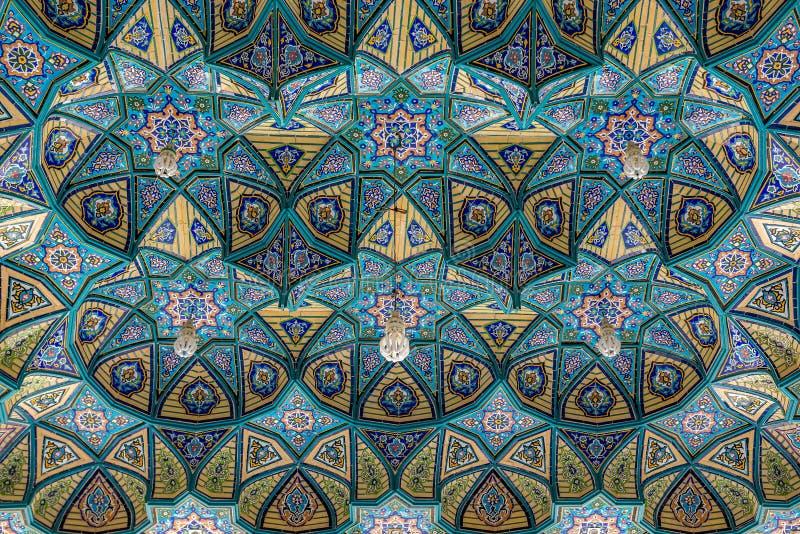 Mosque in Aran. Ceiling of Shrine of Hilal ibn Ali in Aran va Bidgol city, Iran stock photos