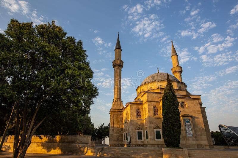 Mosque in Baku. Mosque, an Arabic architecture in Baku, the capital city of Azerbaijan royalty free stock images