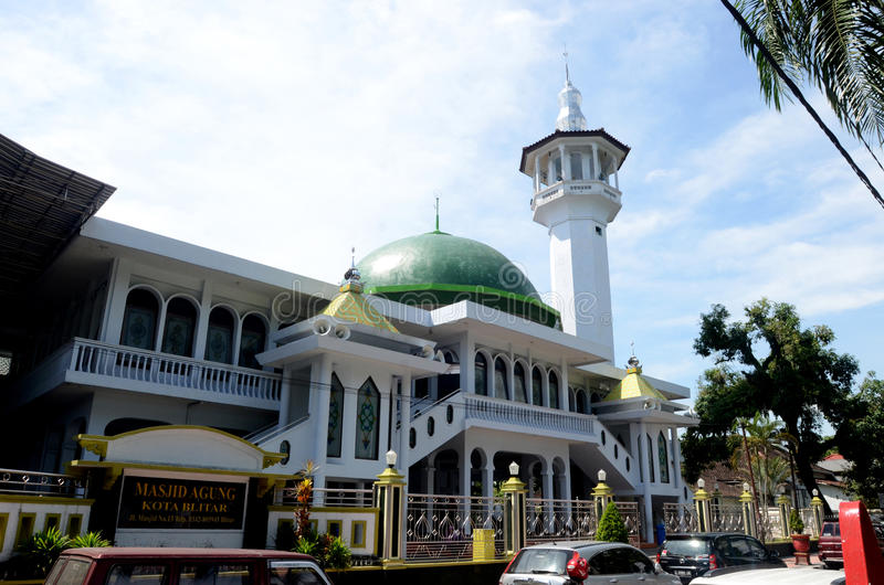 Mosque in Blitar. BLITAR INDONESIA - DESEMBER 29, 2013: Mosque in Blitar, Eas Java, Indonesia on December 29, 2013 royalty free stock image