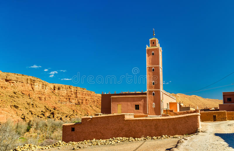 Mosque in Bou Tharar village. Morocco, the Valley of Roses. Mosque in Bou Tharar village - Morocco, the Valley of Roses stock photo
