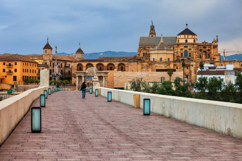Mosque Cathedral In Cordoba From Roman Bridge stock images
