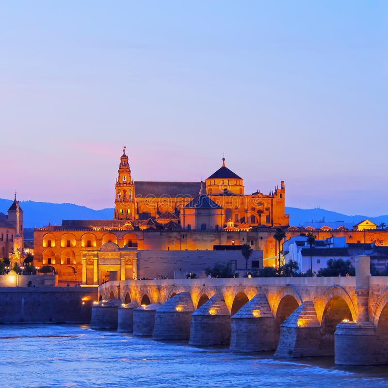 Mosque-Cathedral and the Roman Bridge in Cordoba stock photos