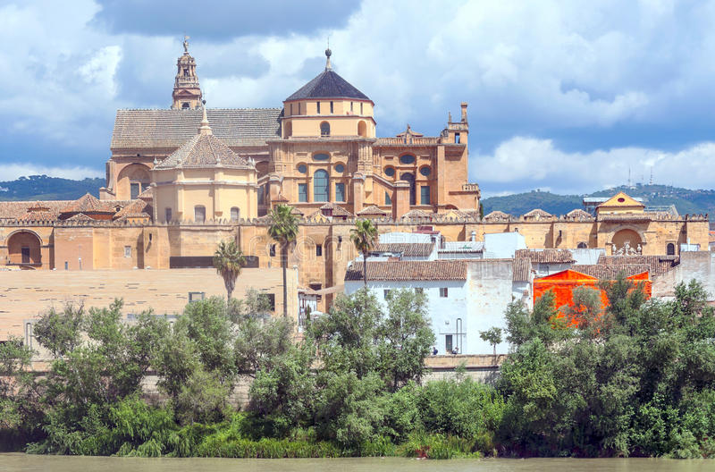 Mosque of Cordoba. Mosque in the Spanish city of Cordoba on a cloudy day. You can see Guadalquivir river stock images