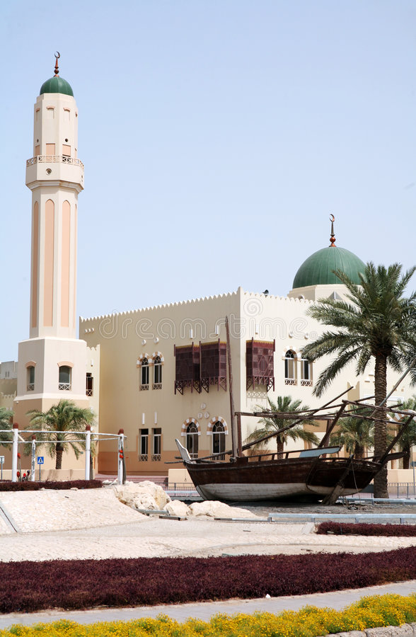 Mosque and dhow stock images