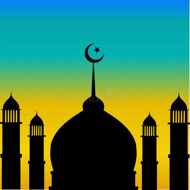 Mosque dome and minaret silhouette with moon during sunset royalty free illustration
