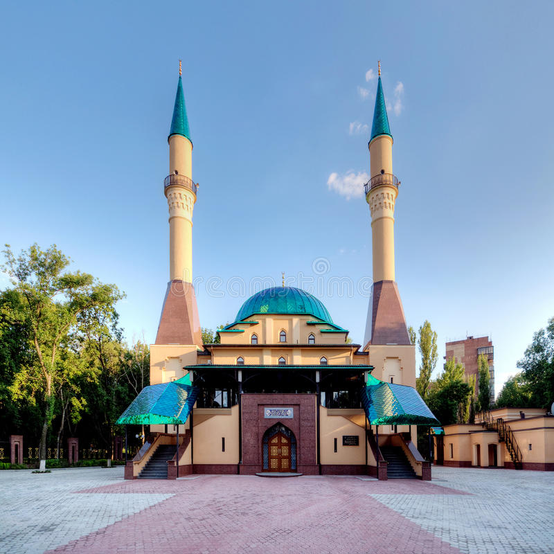 Mosque in Donetsk, Ukraine. Beautiful sunset Mosque in Donetsk, Ukraine stock photo