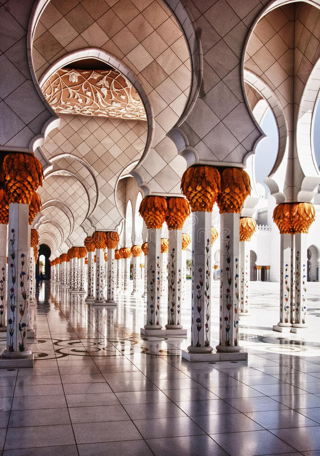 Download Mosque hallway stock image. Image of design, dhabi, middle - 24277429
