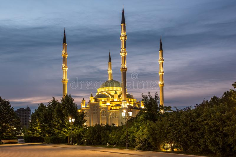 Mosque `Heart of Chechnya` at sunset stock image