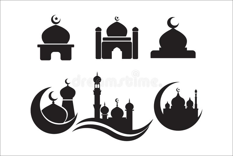 Mosque icon set. mosque icon vector icons stock illustration