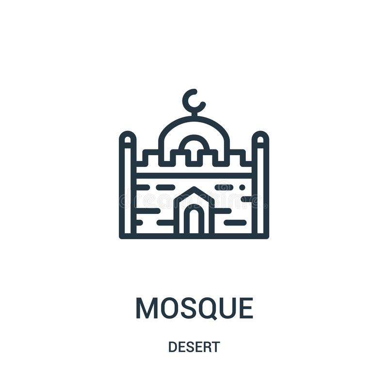 mosque icon vector from desert collection. Thin line mosque outline icon vector illustration. Linear symbol for use on web and stock illustration