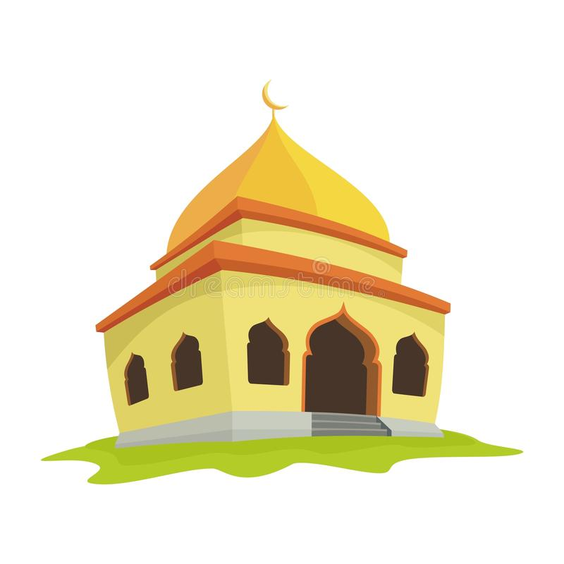 Mosque illustration with cartoon style royalty free illustration