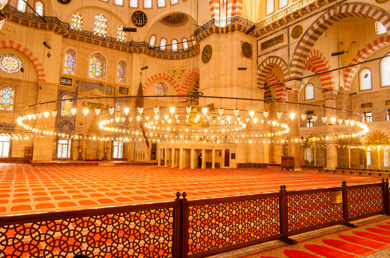 Mosque interior architecture in Istanbul, Turkey. Ottoman Imperial Mosque interior architecture in Istanbul, Turkey stock photos