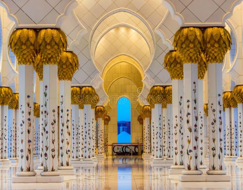 Mosque Interiors. Shaikh Zayed Grand Mosque, Abu Dhabi interiors royalty free stock image