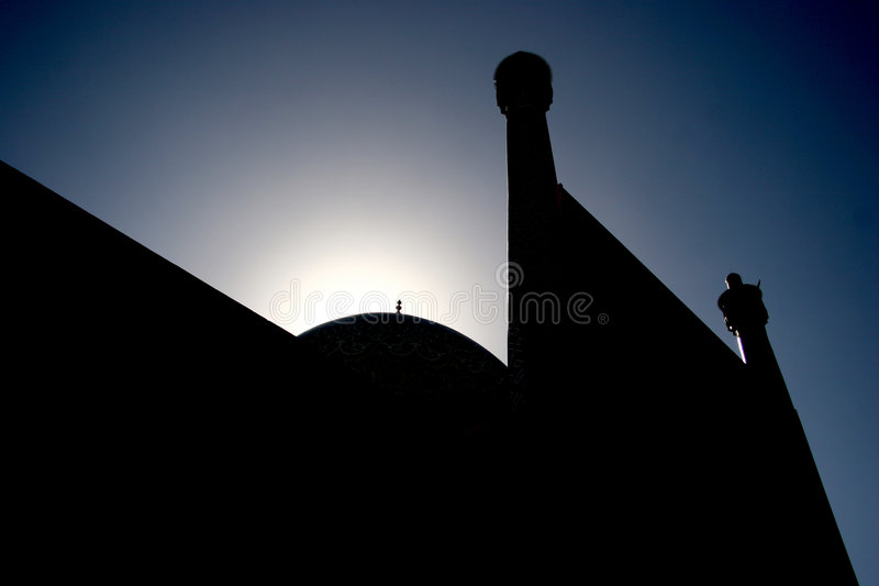 Mosque in Iran. Silhouette of mosque in Iran stock photography