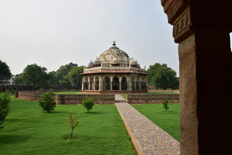 Mosque at Isa Khan Niyazi's tomb in Humayun Tomb complex. Isa Khan Niyazi's tomb in Humayun Tomb complex, tomb dates back to 1547, He was an Afghan noble in Sher royalty free stock photo