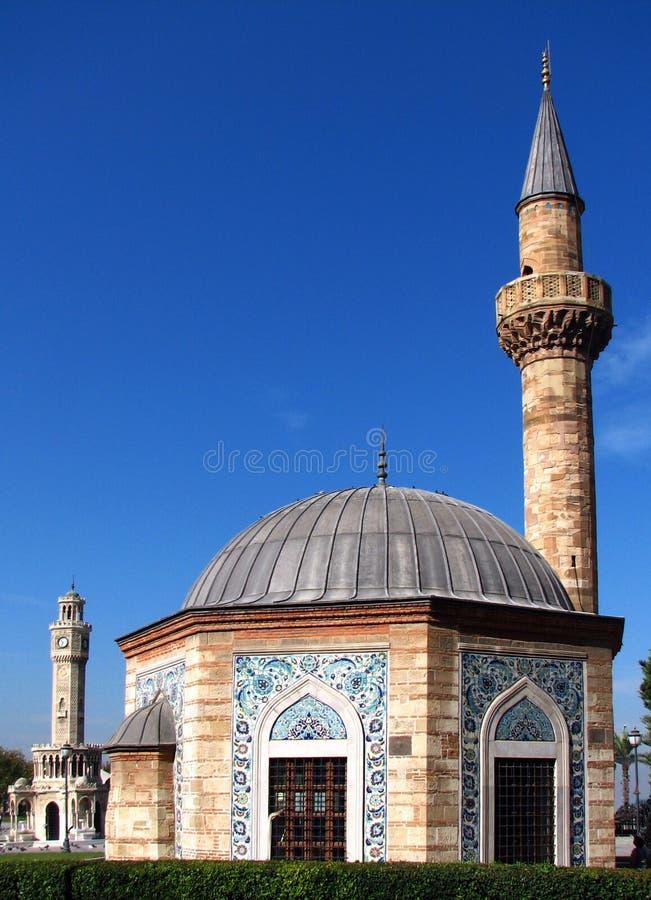 Mosque (Konak Camii) and Clock Tower (Saat Kulesi) stock photo