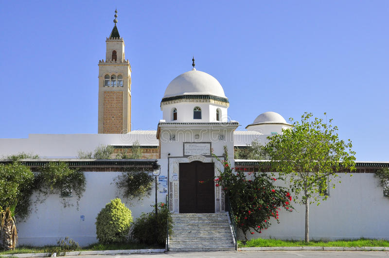 Mosque in La Marsa city Tunis. On the shores of the sea royalty free stock photography