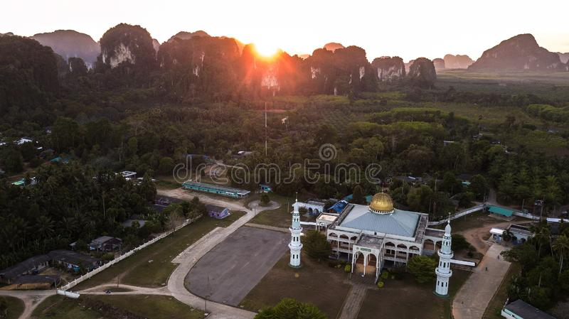 Mosque with  Landscape of  mountain  in krabi province Thailand stock photos