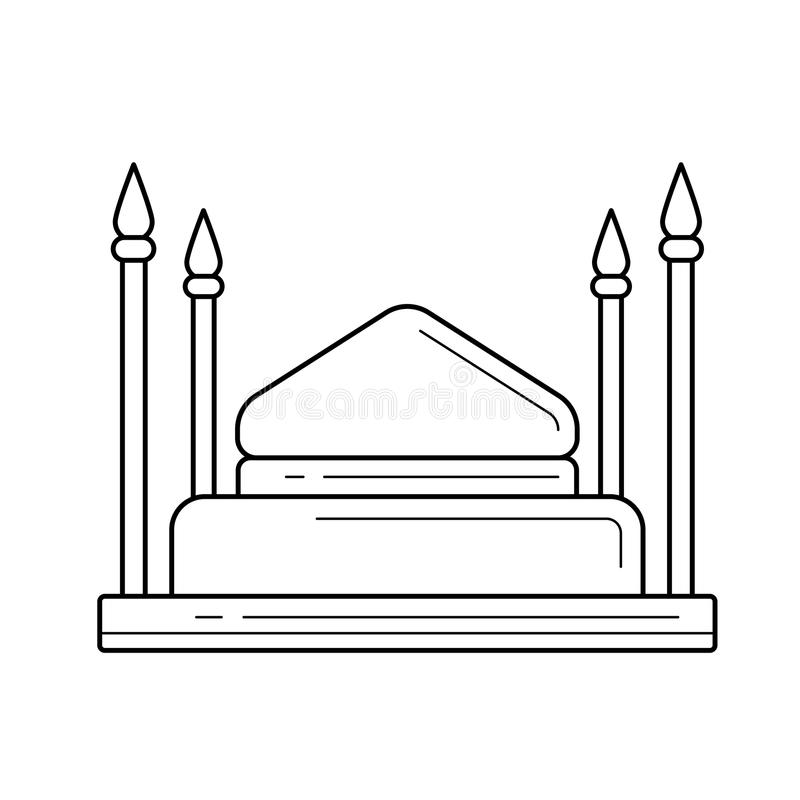 Mosque line icon. Mosque vector line icon isolated on white background. Mosque line icon for infographic, website or app. Icon designed on a grid system vector illustration