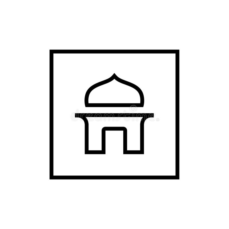 Mosque Logo Icon, Lineart Style Sign royalty free illustration