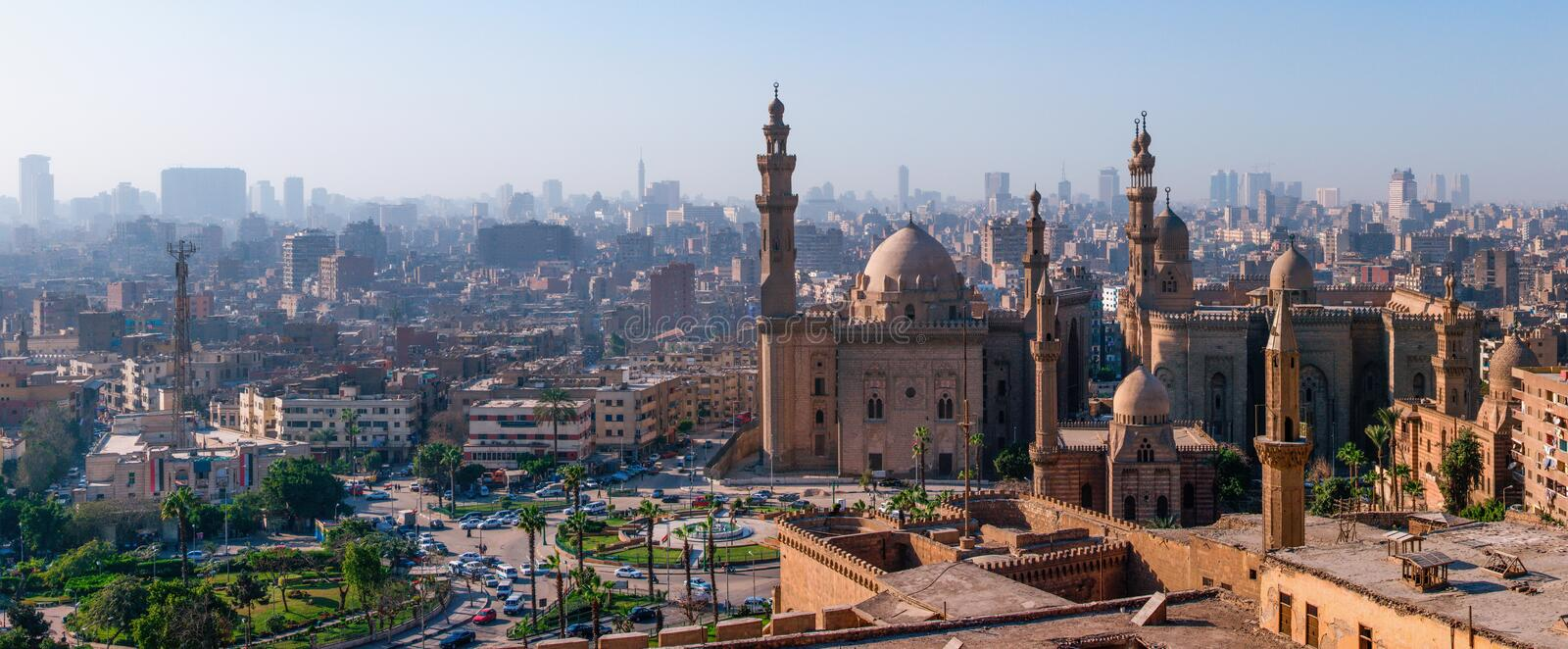Mosque Madrassa of Sultan Hassan photo, panoramic view from fortress in Cairo royalty free stock image