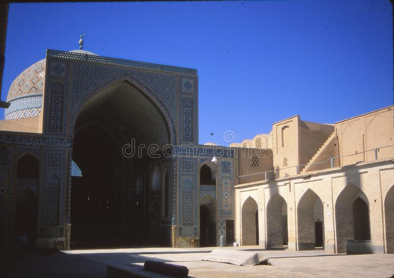Mosque mosaics of the entrance hall and reflecting pool stock images