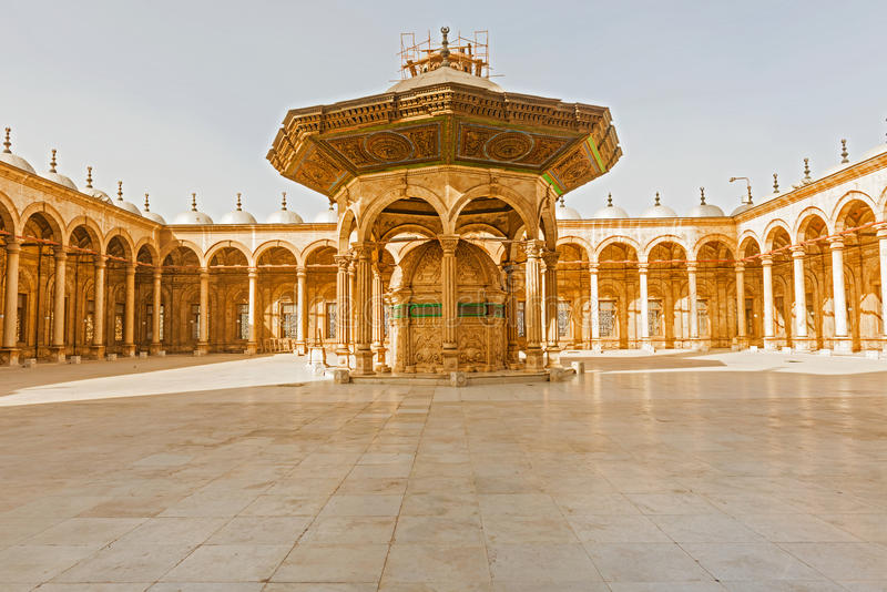 The Mosque of Muhammad Ali in the Citadel of Saladin in Old Cairo, Egypt. View at the inside of Mosque of Muhammad Ali in the Citadel of Saladin in Old Cairo stock photo