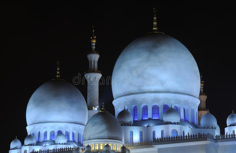 Mosque at night, Abu Dhabi stock photography