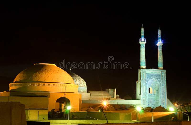 Mosque in night lights, Iran. Mosque in night lights, Yazd, Iran royalty free stock images