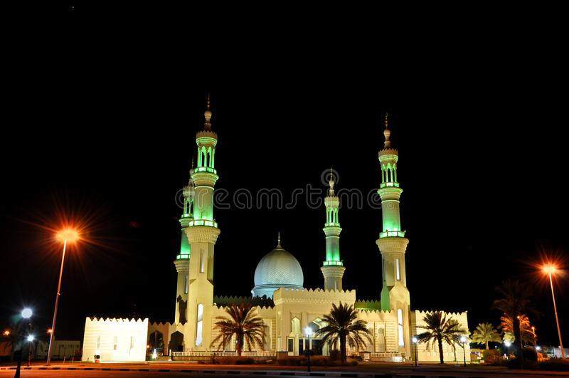 Mosque in night in United Arab Emirates stock photo