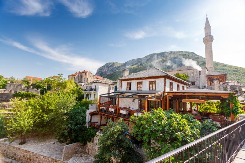 Mosque and old buildings in Mostar, Bosnia. And Herzegovina royalty free stock photo