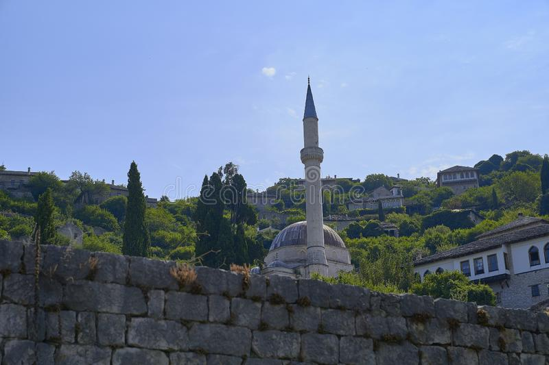 Mosque in Old town of Pocitelj. Bosnia Herzegobina royalty free stock photos